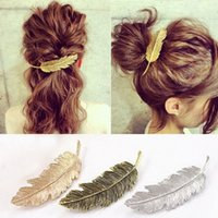 Wholesale New Hot Fashion Vintage Gold Retro Metal Feather Big Hairgrips Hair Clip For Women Accessories Jewelry