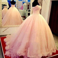 Wholesale Gorgeous Ball Gown Puffy Quinceanera Dresses Pink Lace Top Sweetheart Neckline Ruffles Embellishment Lace up Back Custom Made Sweet