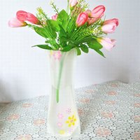 Wholesale 10pieces Styles Folding Vase and Colors Home Decoration PVC Plastic Folding Flower Vase For Home decoration