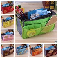 bags eco - Women Insert Organizer Purse Makeup Case Handbag Storage Liner Bag Tidy Travel Insert Bag In Bags Phone MP3 Storage Bags Color E1