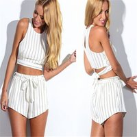 Wholesale 2016 New Fashion Lady Sleeveless Chiffon Tank Tops Striped Shorts with Belt Shorts Sets Casual Clubwear