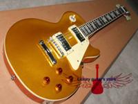 Wholesale Top Sale Custom P90 pickups Wood color Back Big Golden yellow Standard Electric Guitar strings Guitars