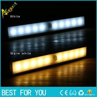 Wholesale New hot Stick On Anywhere Portable LED Wireless Motion Sensing Closet Cabinet LED Night Light Stairs Light Step Light Bar DHL Free
