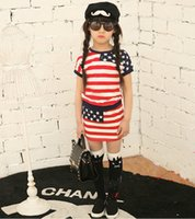 american flag clothes - Children New Summer Star Striped Short Sleeved T shirt America National Flag Skirt Suit American Flag Children Clothing
