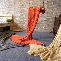 Wholesale NEW Adult Mermaid tail blanket Knitting wool blanket sofa sleeping bag