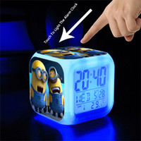 Wholesale Minions Digital Led Colors Change Clock Despicable Me Toy Capsule Small Touch LED Colorful Clocks Multifunction Christmas Gift for Kids