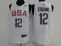 Wholesale 2016 Rio Olympic Games USA dream twelve Cousins basketball jersey Men s sports jersey Men basketball jerseys White