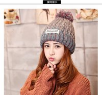 Wholesale 2016 Stingy Brim Hats new winter cloth standard ladies knitted hat cute Korean color warm hat