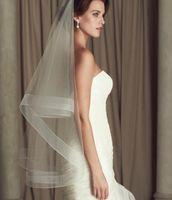 Wholesale Simple Two Tier Mid Length Veil with Horsehair Trim Veils for Bridal Short Veils Elegant