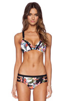Wholesale 2016 new arrivel women sexy elasticity close fitting swimming suit girls fashion beautiful floral black tape two piece bikini suit