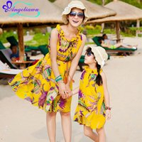Wholesale Family fashion summer bohemia beach Family Look Dress Cotton Mother Daughter Family Matching Outfits Sleeveless Mother Daughter Dresses