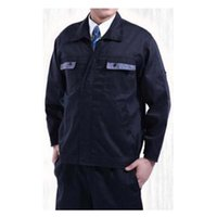 Wholesale Work Uniform Clothes Welding Vehicle Repair Superior Fabric Five Size Long Sleeve Safety Protective Clothing Navy and Grey Pocket