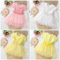 Wholesale 2016 Summer Fashion Flower Girls Dress short sleeve dress ribbon pure Cotton Net Yarn Baby lace Year Children Clothing cm