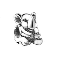Wholesale 2016 New Arrival Lovely Elephant Charm Sterling Silver European Charms Bead Fit Snake Chain Bracelet Women Fashion DIY Jewelry