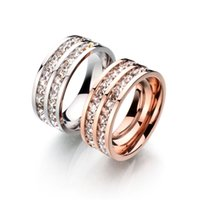 Wholesale Factory Direct Top Quality Concise Stainless Steel CZ Stone Ring K Rose Gold Plated Austrian Crystals Wedding Ring For Party Gift