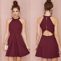 Wholesale Burgundy Party Dresses Mini Cocktail Dresses Summer Sexy Halter Sleeveless Backless Pleats Short Party Dresses Black