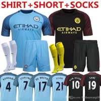 Wholesale 2016 MancHESTER Uniform Kits home Citys DE BRUYNE KUN AGUERO STERLING Rugby Sets Kompany NOLITO Football Shirt with Short Socks