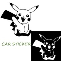 Wholesale 15 CM Fansy Cute Pikach Car Sticker Poke Car Styling Vinyl Decorative Decals Black White