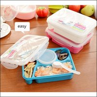 bento kit - BY DHL Bento Lunch Box Fully Sealed Food compartment Bento Box Soup Bowl With Plastic Scoop Pratos Microwave Meal