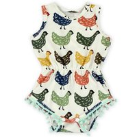 baby chick - 2016 Europe and America Fashion Girl onesies Summer Chick Tassels Ball Cotton Bodysuits Baby Clothing T