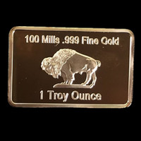 american buffalo coin - 50 Brand new fine gold American OX buffalo real gold plated souvenir bullion bar coin Yellow stone wide life animal DHL