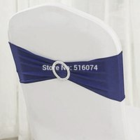Wholesale Navy Blue Spandex chair band with buckle spandex sash chair sash for chair cover wedding decoration