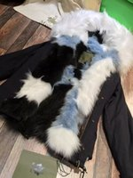 Cheap Rare multicolour fur lined coats Mr & Mrs Italy Real FOX FUR lined canvas parka Mr & Mrs furs fox fur mini jackets