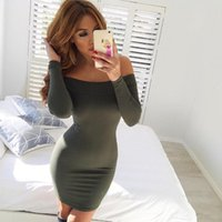 Wholesale 2016 Summer Spring Women s Sexy Strapless Off Shoulder Solid Black Green White Dress Long Sleeve Mini Dress