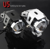 Wholesale 2016 FASHION Motorcycle conversion headlight led super bright spotlights u5 Transformers laser cannon converging Strobe black silver color