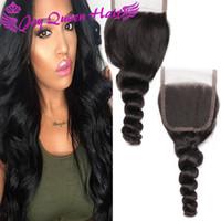Wholesale Cheap Brazilian Virgin Human hair Lace Frontal Closure x4 Loose wave Peruvian Indian Malaysian Human hair Silk Base Top Closure inches