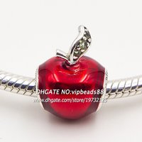 Wholesale 2015 NEW S925 Sterling Silver Snow White s Apple Red Enamel Charm Beads Fit European pandora charms Jewelry Bracelets Necklaces DS039