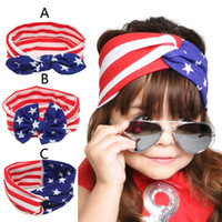 american flag children - Baby American Flag euro stars stripe bowknot Headbands Design Girls Lovely Cute Bow Hair Band Headwrap Children Elastic Accessories B001