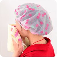 Wholesale 6pcs New Women Shower Hair Cap Lovely Thick Waterproof Head Wrap Hat Cosmetics Cap Bathing Tool Bath Accessories