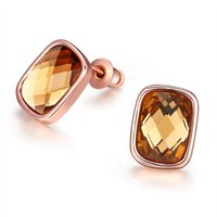 amber semi precious stone - Stud Earring Rose Gold Plated Amber Earring with Czech Semi precious Stone SYLAKE048 Fashion Jewelry