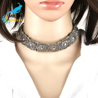 american coin jewelry - 2016 Newest Indian Jewelry Handmade Alloy Collar Necklace Hollow Lace Peach Heart Coin Vintage Statement Metal Choker Necklace For Women