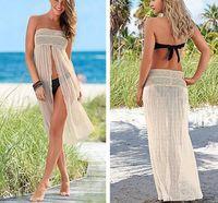 Wholesale 2016 Women Sexy Strapless Hollow out Bikini Cover Up Stretch Elastic Waist Long Skirt Side Split Beach Dress