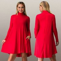Wholesale Cheap ladies dress and new large size women a long sleeved dress code six four color