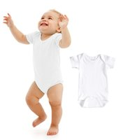 Wholesale Baby Rompers Suit Summer Infant Triangle Romper Onesies cotton Short sleeved babies clothes boy girl pure white full sizes Newborn Baby