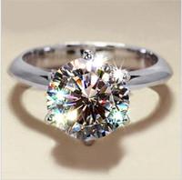 Moda 925 de la piedra preciosa de plata anillos de dedo de la Mujer clásico de seis puntas anillos de ajuste 3CT coctel de la boda de circón diamante simulado