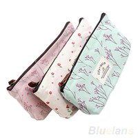 Wholesale New Flower Floral Pencil Pen Case Cosmetic Makeup Tool Bag Storage Pouch Purse RP