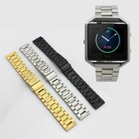 Bandas de acero inoxidable enlaces Baratos-Acero inoxidable de la pulsera del acoplamiento del reloj de la correa de Bandas de Fitbit Blaze Control de actividad inteligente reloj de la aptitud 10pcs de DHL