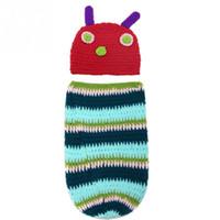 Wholesale Newborn Baby Boy Girl Crochet Photography Props Caterpillar Cocoon Design Hat Set Party Costume Photo Props
