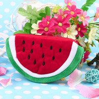 Wholesale New Cute Portable Little Watermelon Shape Girl Kids Small Mini Purse Wallets Case Plush Students Bag Fruit Coin Purses Children Day Gift