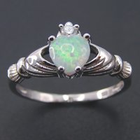 Wholesale 2016 High Quality White Opal Solid Sterling Silver Love Heart Rings For Women Opal Jewelry