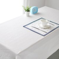 Wholesale White linen table cloths European style Pure white color cloth Upscale cafe restaurant table cover towels