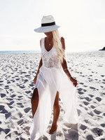 asymmetrical swimsuits - 2016100954 New Sexy Lace Crochet Long Beach Cover Up Swimsuit Bikini Swimwear Women Summer Tunic Beach Dress White