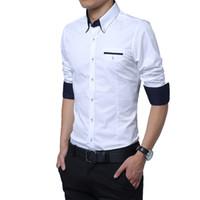 Wholesale 2016 Fashion Men Long Sleeve Shirt Pure Cotton Shirts Leisure Formal Bussiness Work Top Blouse T Shirt