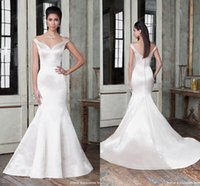 Wholesale Elegant Off the Shoulder Wedding Dresses Mermaid Sleeves Sexy V Neck Backless Justin Alexander Simple Bridal Gowns Sweep Train