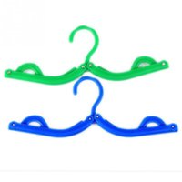 Wholesale 1pc Plastic Clothes Hanger Foldable Travel Magic Hanger Blue Green For Home Travel USE