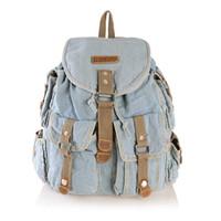 Wholesale New Vintage Casual Denim Many Pockets Small Backpack School Bags Jean Women Daypacks Cross Body bolsa feminina